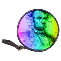 Abraham Lincoln Portrait Rainbow Colors Typography Classic 20-CD Wallets