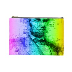 Abraham Lincoln Portrait Rainbow Colors Typography Cosmetic Bag (Large)