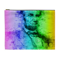Abraham Lincoln Portrait Rainbow Colors Typography Cosmetic Bag (XL)