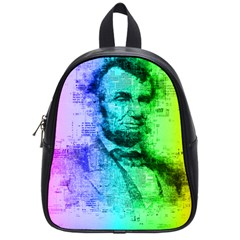 Abraham Lincoln Portrait Rainbow Colors Typography School Bags (Small)