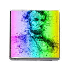 Abraham Lincoln Portrait Rainbow Colors Typography Memory Card Reader (Square)