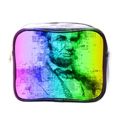 Abraham Lincoln Portrait Rainbow Colors Typography Mini Toiletries Bags