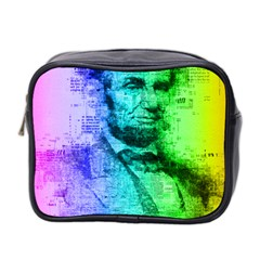 Abraham Lincoln Portrait Rainbow Colors Typography Mini Toiletries Bag 2-Side