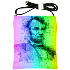 Abraham Lincoln Portrait Rainbow Colors Typography Shoulder Sling Bags