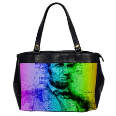 Abraham Lincoln Portrait Rainbow Colors Typography Office Handbags