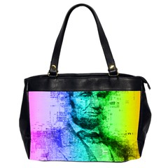 Abraham Lincoln Portrait Rainbow Colors Typography Office Handbags (2 Sides)