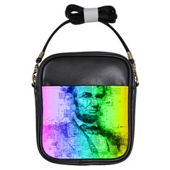 Abraham Lincoln Portrait Rainbow Colors Typography Girls Sling Bags