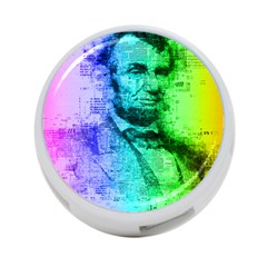 Abraham Lincoln Portrait Rainbow Colors Typography 4-Port USB Hub (One Side)