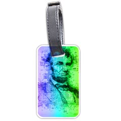 Abraham Lincoln Portrait Rainbow Colors Typography Luggage Tags (Two Sides)