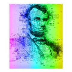 Abraham Lincoln Portrait Rainbow Colors Typography Shower Curtain 60  x 72  (Medium)