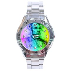 Abraham Lincoln Portrait Rainbow Colors Typography Stainless Steel Analogue Watch