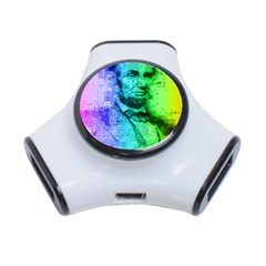 Abraham Lincoln Portrait Rainbow Colors Typography 3-Port USB Hub