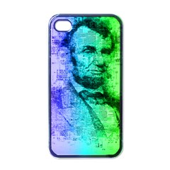 Abraham Lincoln Portrait Rainbow Colors Typography Apple iPhone 4 Case (Black)