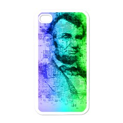 Abraham Lincoln Portrait Rainbow Colors Typography Apple iPhone 4 Case (White)