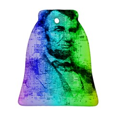 Abraham Lincoln Portrait Rainbow Colors Typography Ornament (Bell)