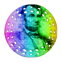 Abraham Lincoln Portrait Rainbow Colors Typography Round Filigree Ornament (Two Sides)