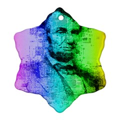 Abraham Lincoln Portrait Rainbow Colors Typography Snowflake Ornament (Two Sides)