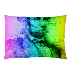 Abraham Lincoln Portrait Rainbow Colors Typography Pillow Case (Two Sides)
