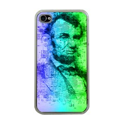 Abraham Lincoln Portrait Rainbow Colors Typography Apple iPhone 4 Case (Clear)