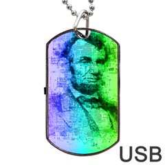 Abraham Lincoln Portrait Rainbow Colors Typography Dog Tag USB Flash (One Side)