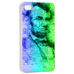 Abraham Lincoln Portrait Rainbow Colors Typography Apple iPhone 4/4s Seamless Case (White)