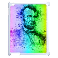 Abraham Lincoln Portrait Rainbow Colors Typography Apple iPad 2 Case (White)