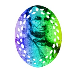Abraham Lincoln Portrait Rainbow Colors Typography Ornament (Oval Filigree)