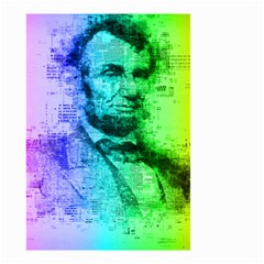 Abraham Lincoln Portrait Rainbow Colors Typography Small Garden Flag (Two Sides)