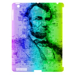 Abraham Lincoln Portrait Rainbow Colors Typography Apple iPad 3/4 Hardshell Case (Compatible with Smart Cover)