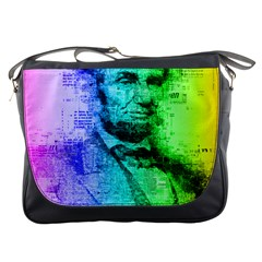 Abraham Lincoln Portrait Rainbow Colors Typography Messenger Bags