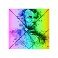 Abraham Lincoln Portrait Rainbow Colors Typography Acrylic Tangram Puzzle (4  x 4 )