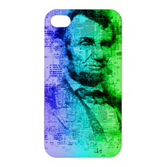 Abraham Lincoln Portrait Rainbow Colors Typography Apple iPhone 4/4S Premium Hardshell Case