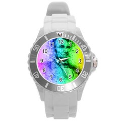 Abraham Lincoln Portrait Rainbow Colors Typography Round Plastic Sport Watch (L)