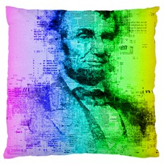 Abraham Lincoln Portrait Rainbow Colors Typography Large Cushion Case (One Side)