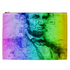 Abraham Lincoln Portrait Rainbow Colors Typography Cosmetic Bag (XXL)