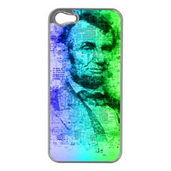 Abraham Lincoln Portrait Rainbow Colors Typography Apple iPhone 5 Case (Silver)