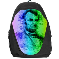 Abraham Lincoln Portrait Rainbow Colors Typography Backpack Bag