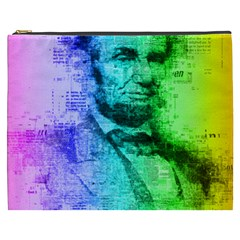 Abraham Lincoln Portrait Rainbow Colors Typography Cosmetic Bag (XXXL)