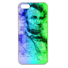 Abraham Lincoln Portrait Rainbow Colors Typography Apple Seamless iPhone 5 Case (Clear)
