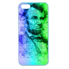 Abraham Lincoln Portrait Rainbow Colors Typography Apple Seamless iPhone 5 Case (Color)