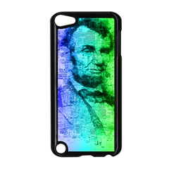 Abraham Lincoln Portrait Rainbow Colors Typography Apple iPod Touch 5 Case (Black)