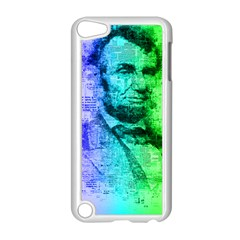 Abraham Lincoln Portrait Rainbow Colors Typography Apple iPod Touch 5 Case (White)