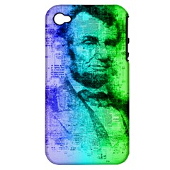 Abraham Lincoln Portrait Rainbow Colors Typography Apple iPhone 4/4S Hardshell Case (PC+Silicone)