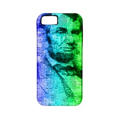 Abraham Lincoln Portrait Rainbow Colors Typography Apple iPhone 5 Classic Hardshell Case (PC+Silicone)