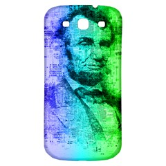 Abraham Lincoln Portrait Rainbow Colors Typography Samsung Galaxy S3 S III Classic Hardshell Back Case