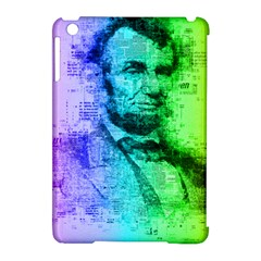 Abraham Lincoln Portrait Rainbow Colors Typography Apple iPad Mini Hardshell Case (Compatible with Smart Cover)