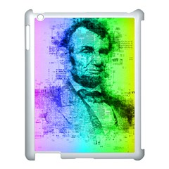 Abraham Lincoln Portrait Rainbow Colors Typography Apple iPad 3/4 Case (White)