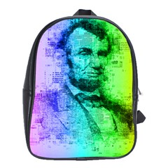 Abraham Lincoln Portrait Rainbow Colors Typography School Bags (XL)