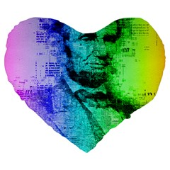 Abraham Lincoln Portrait Rainbow Colors Typography Large 19  Premium Heart Shape Cushions