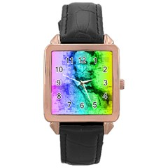 Abraham Lincoln Portrait Rainbow Colors Typography Rose Gold Leather Watch